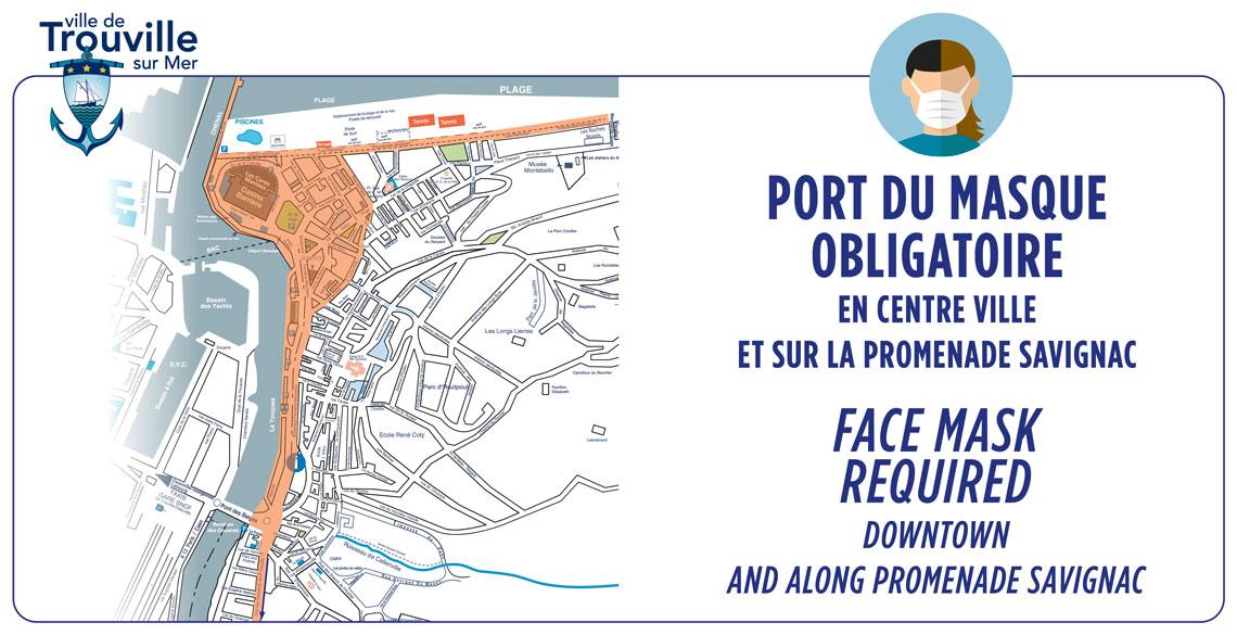 «Port du masque obligatoire en centre ville et sur la promenade Savignac»